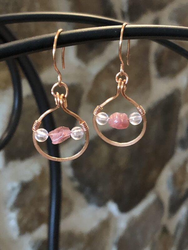 Boucle d'oreilles quartz rose et tourmaline rose